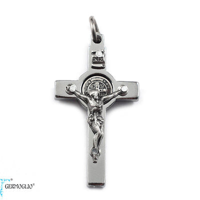 Saint Benedict Crucifix in Polished Chrome by Germoglio x Ghirelli, Small