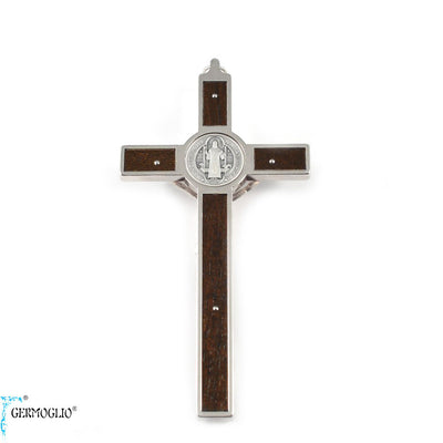 Saint Benedict Crucifix Wall Cross with Wood Inlay by Germoglio x Ghirelli