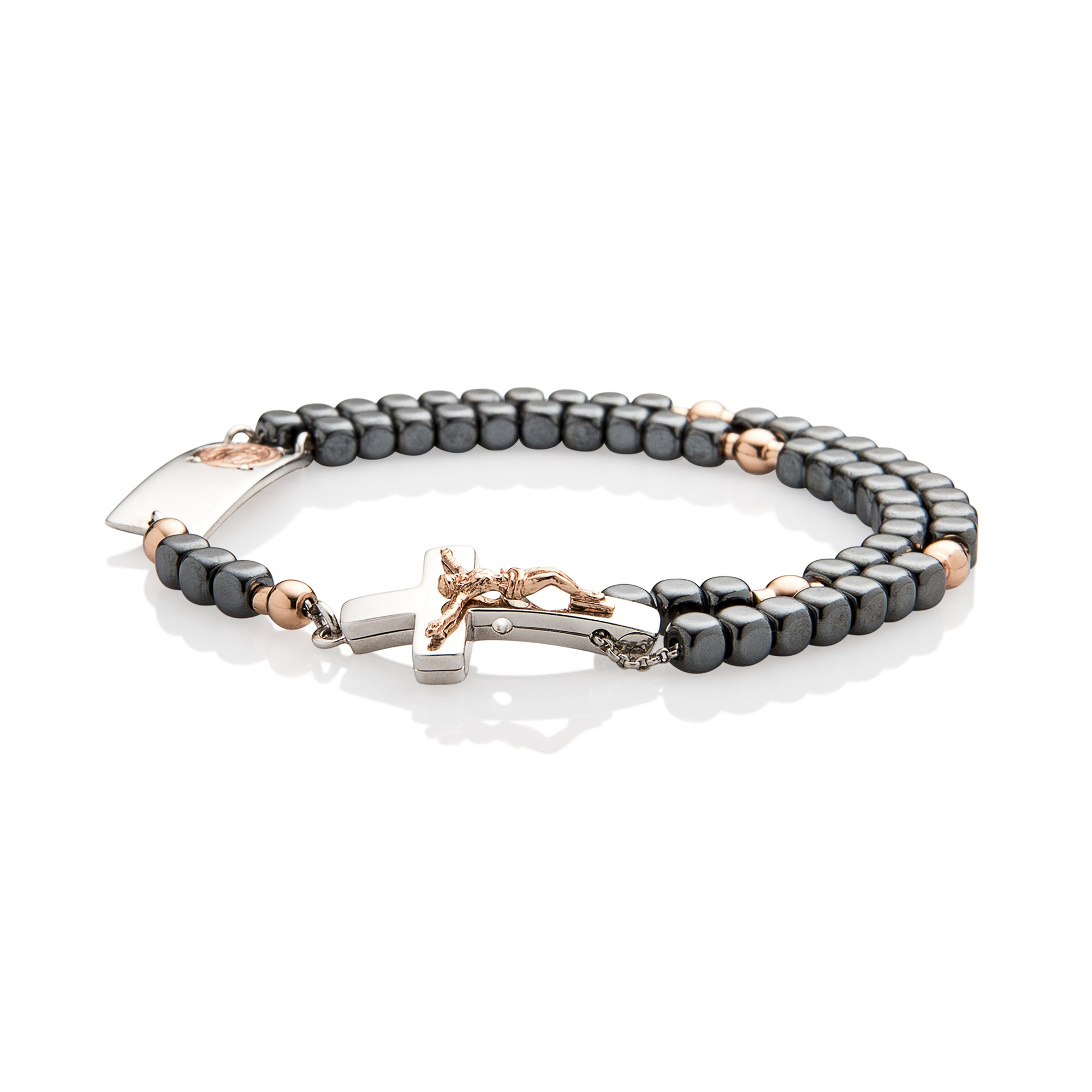 Magnificat Rosalet® - Square Shiny Hematite Beads, Rose Gold Pater Beads, Traditional