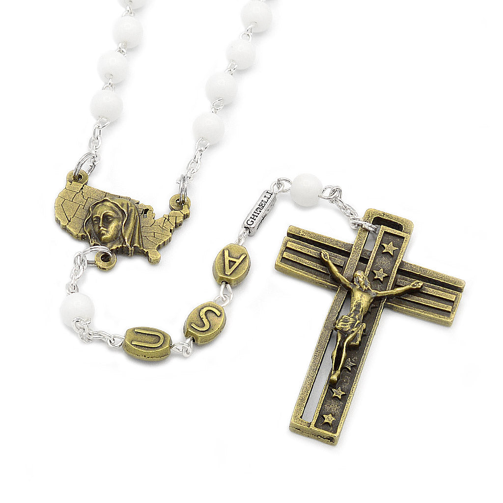 The USA Rosary - Bronze with White Glass