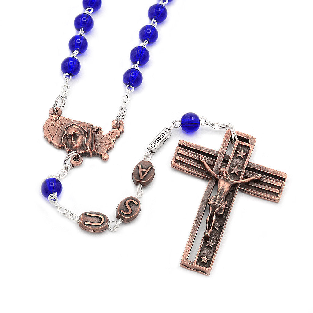 The USA Rosary - Copper with Blue Glass