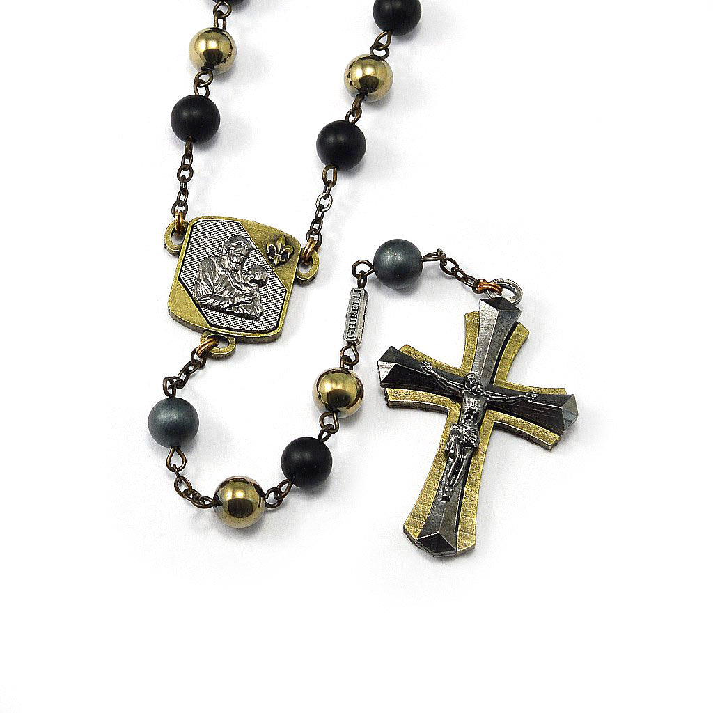 Saint Joseph Rosary in Bronze, Black & Hematite