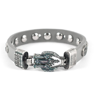 FIDES™ Genuine Italian Leather Holy Angels Rosary Bracelet in Grey