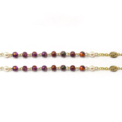 Our Lady of the Miraculous Medal Rosary in Burgundy & Antique Gold