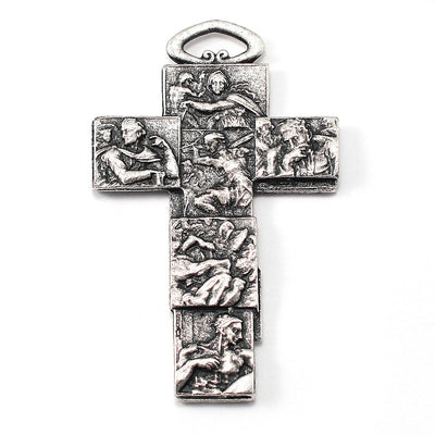 The Sistine Chapel Rosary in Silver with Black Crystal Beads