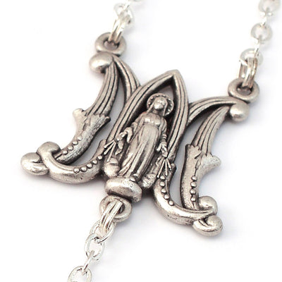 Miraculous Medal Silver Rosary