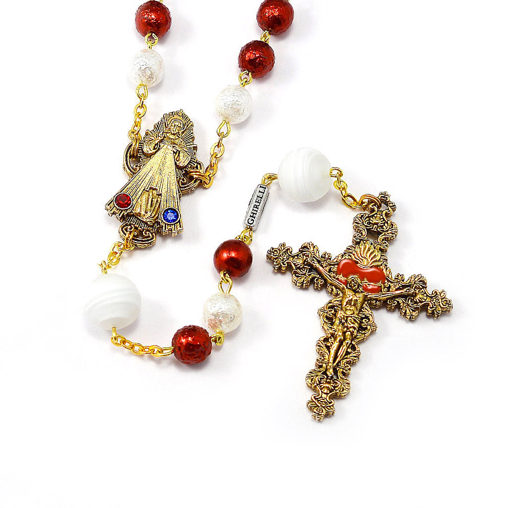 Merciful Jesus Divine Mercy Rosary with Murano Glass, Crystal, and Hand Enamel