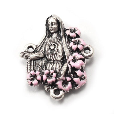 Our Lady of Fatima Rosary with Genuine Murano Glass, Pink