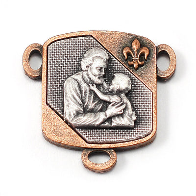 Saint Joseph Rosary in Copper, Silver & Hematite