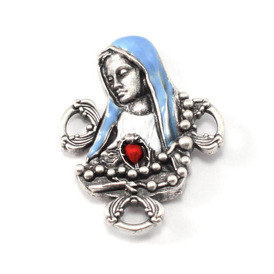 Our Lady of Fatima Rosary with Genuine Murano Beads, Blue & White