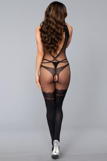 Open Low Back Crotchless W- Faux Thigh Highs O-s
