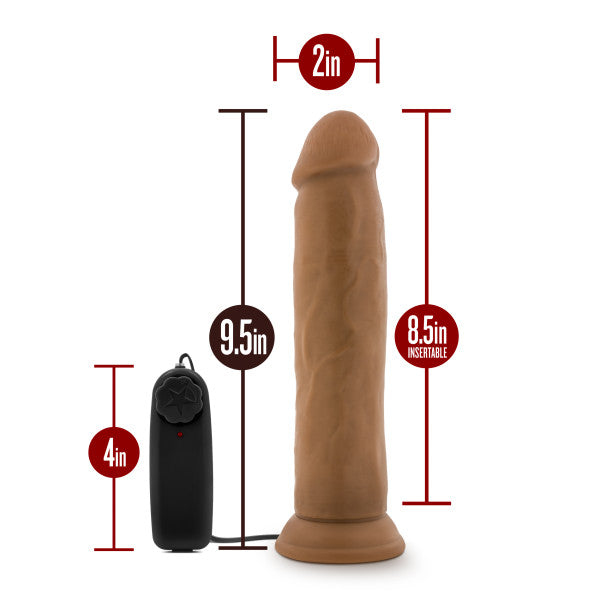 Dr. Skin Dr. Throb 9.5in Mocha Vibrating Cock W- Suction Cup