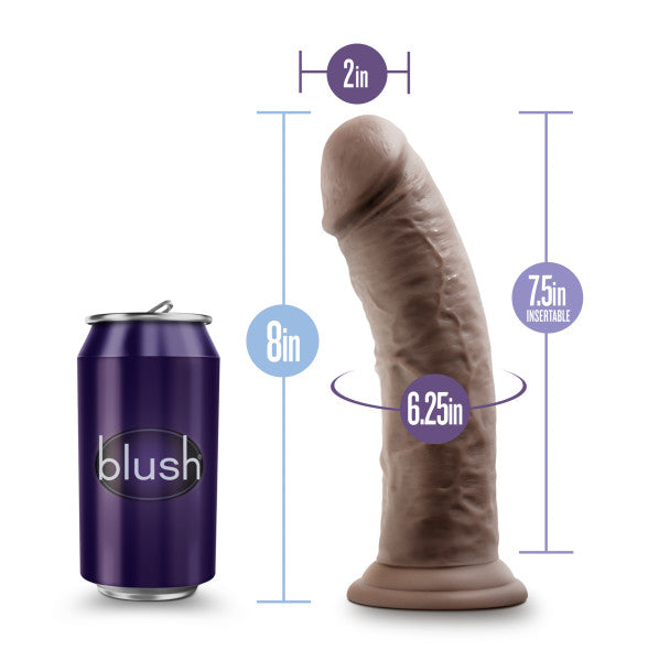 Au Naturel 8in Dildo W- Suction Cup Chocolate
