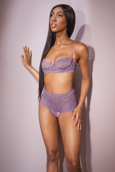 Bra & High Waisted Thong Lavender-pink Medium