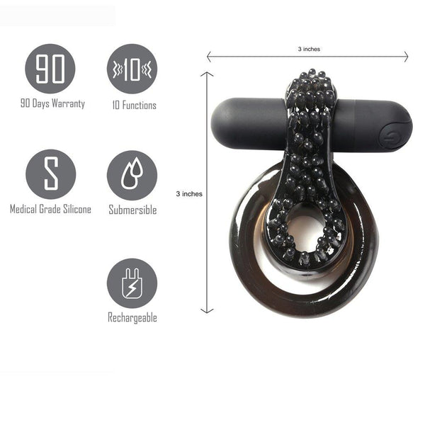 Jagger Rechargeable Vibrating Cock Ring Black Sleeve