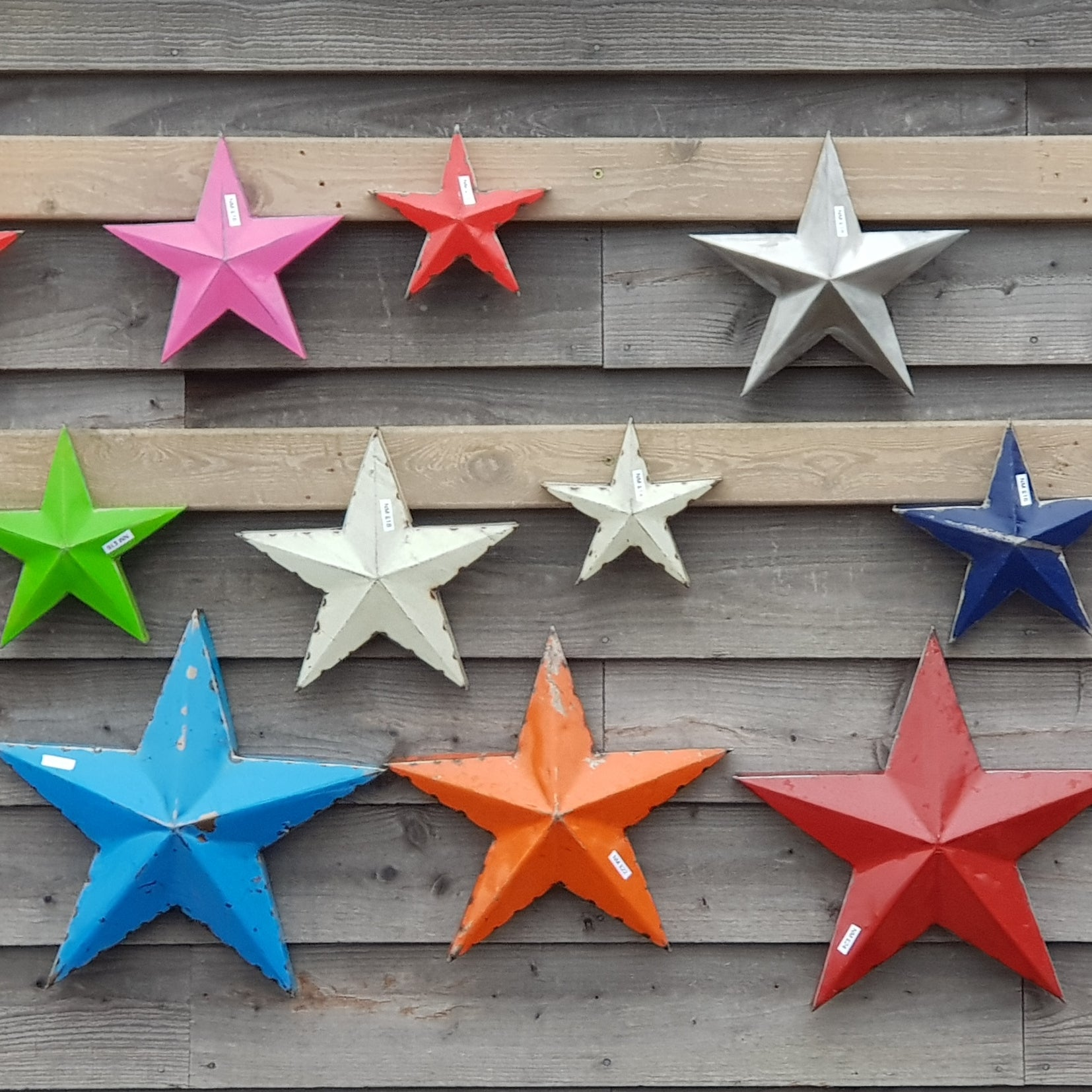 Steel stars made from oil drums