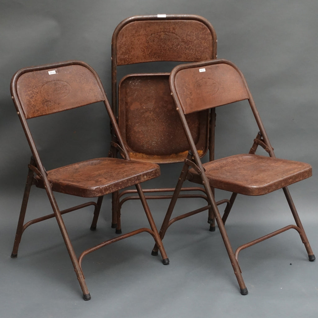 Vintage Indian folding metal chairs