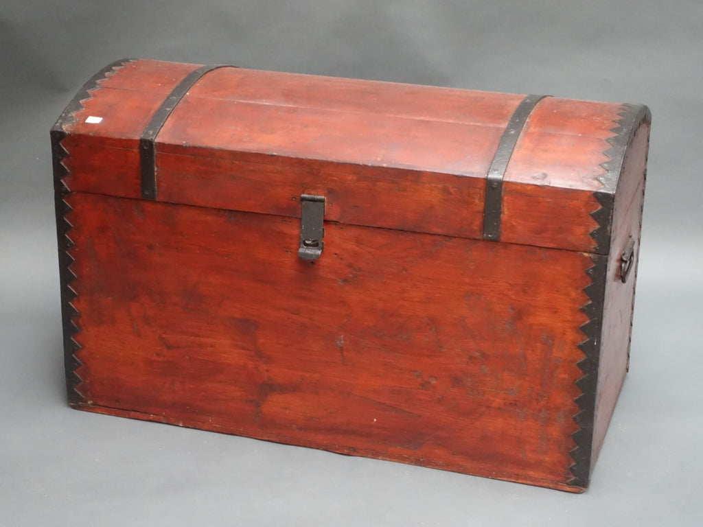 Vintage stained pine metal bound trunk