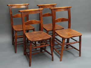 Set of 4 Victorian chapel chairs