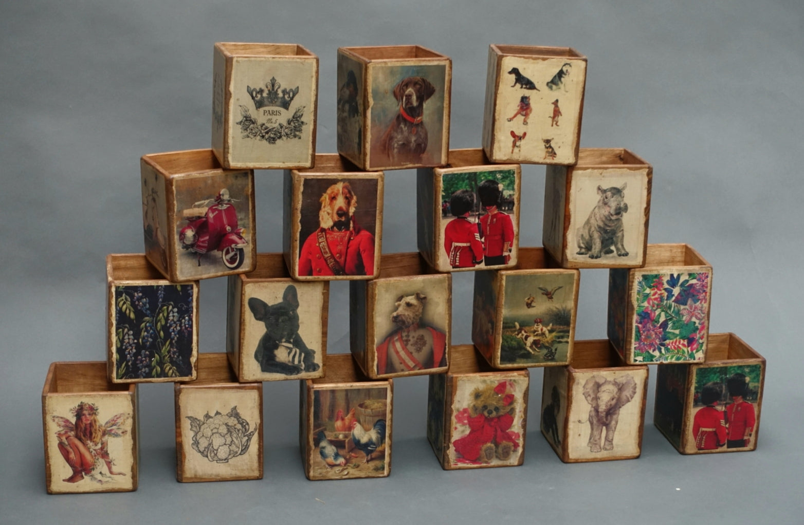 Decoupage storage boxes