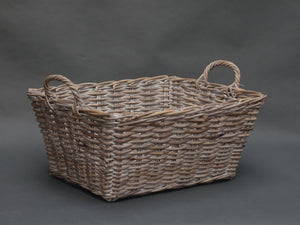 Rectangular whitewashed basket with ear handles