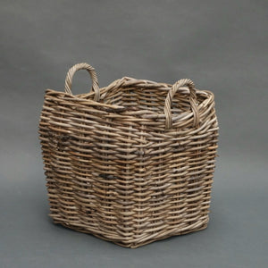 Square basket with curved body and ear handles