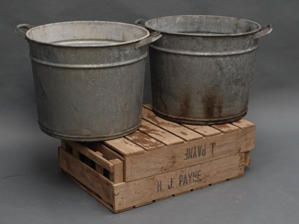 German galvanised two handled circular planters