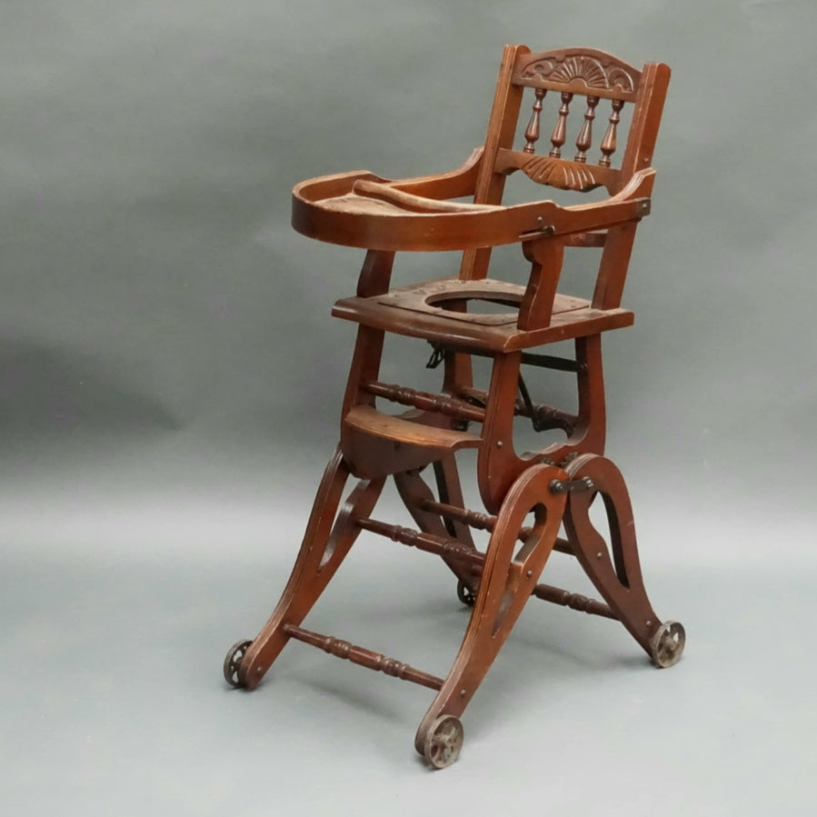 Metamorphic Childs high chair / rocking chair C1900