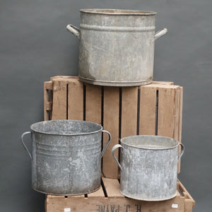 Hungarian galvanised two handled planters