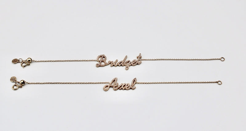 14k Diamond Name Bracelet
