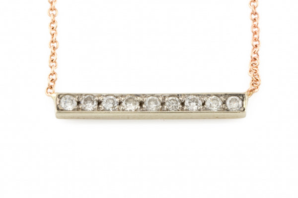 14KRG Diamond Bar Necklace