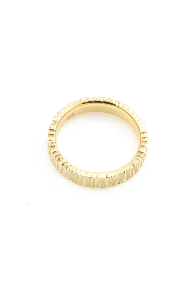 14K Hand Carved Simone Ring 4mm