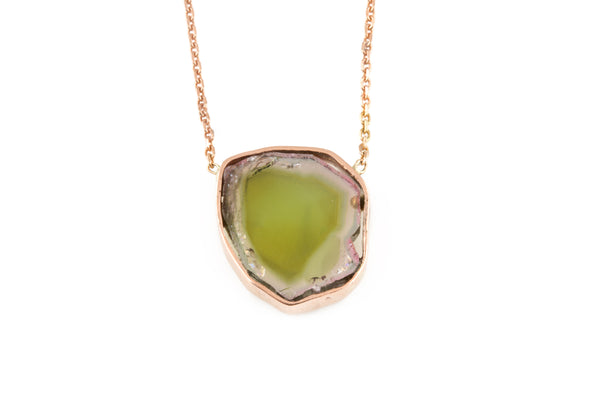 14KRG Slice Tourmaline Necklace