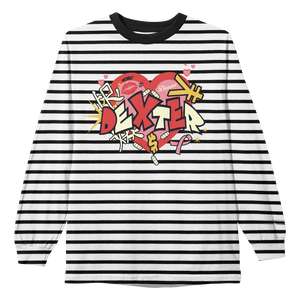 "FAMOUS DEX ""HEART"" STRIPED LS"