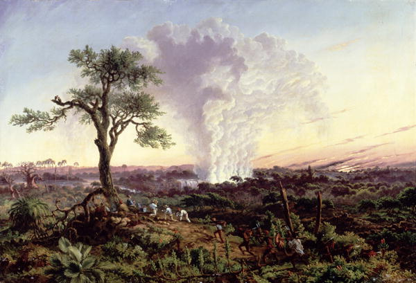 Thomas Baines - Victoria Falls at Sunrise with The Smoke or Spraycloud 1863
