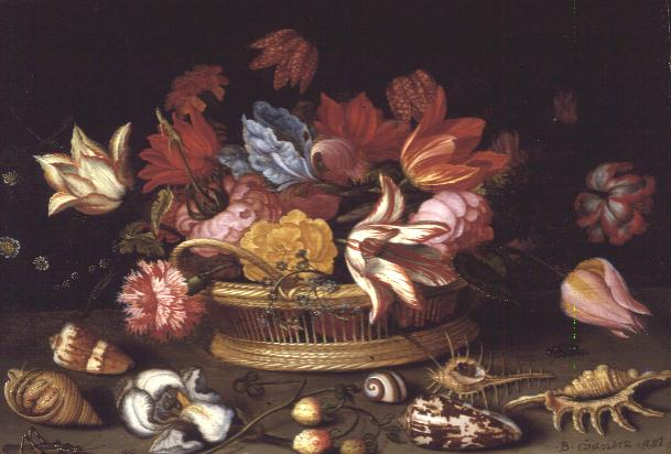 Balthasar van der Ast - A Basket of Flowers with Shells on a Ledge