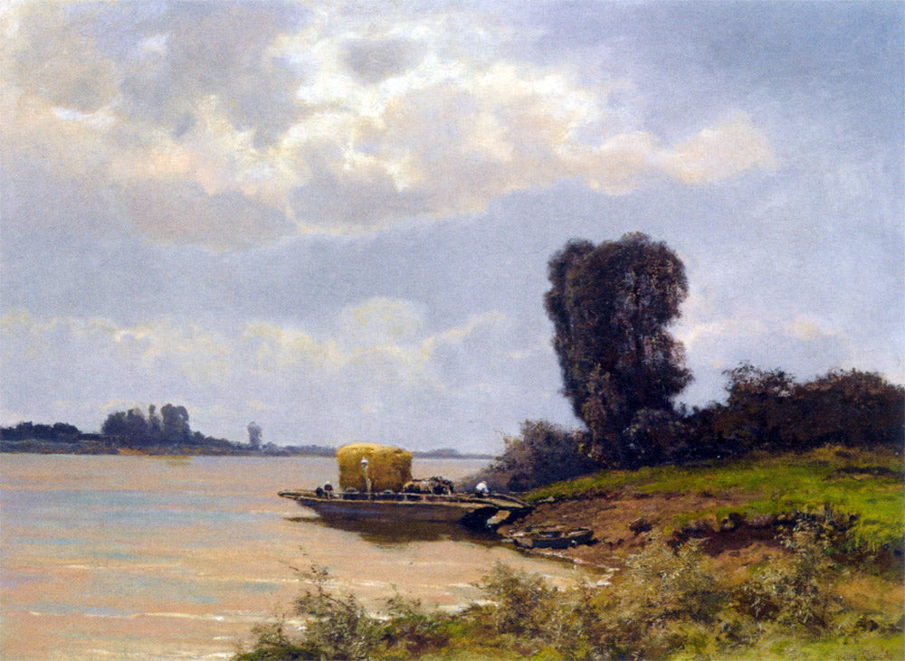 Louis Apol - A Ferry In A Summer Landscape
