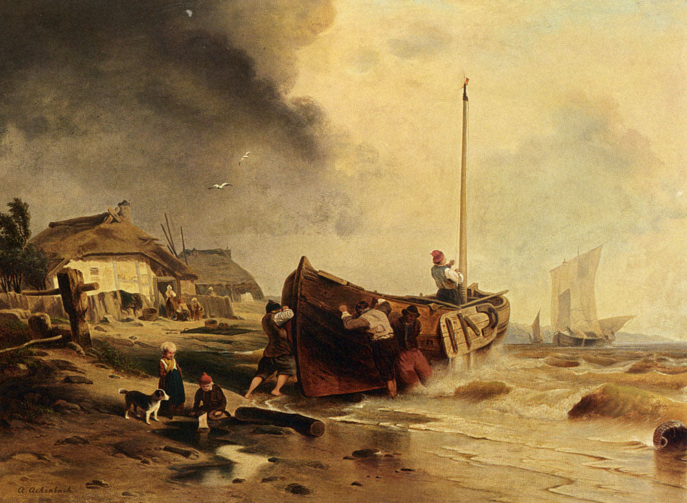 Andreas Achenbach - A Fishing Boat On The Beach
