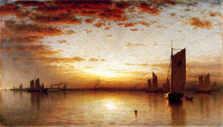 Sanford Robinson Gifford - A Sunset, Bay of New York