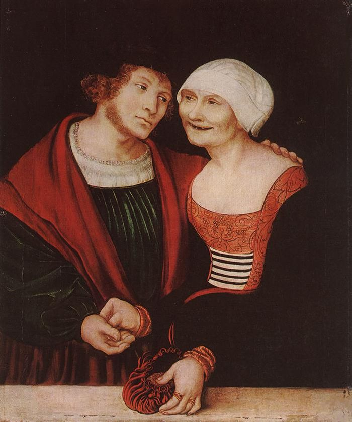 Lucas the Elder Cranach - Amorous Old Woman and Young Man