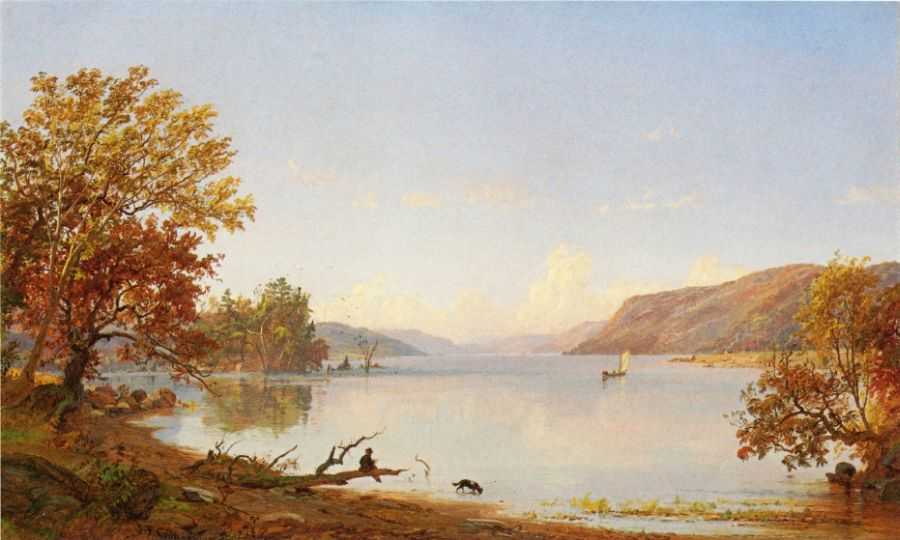 Jasper Francis Cropsey - Artist Sketching on Greenwood Lake