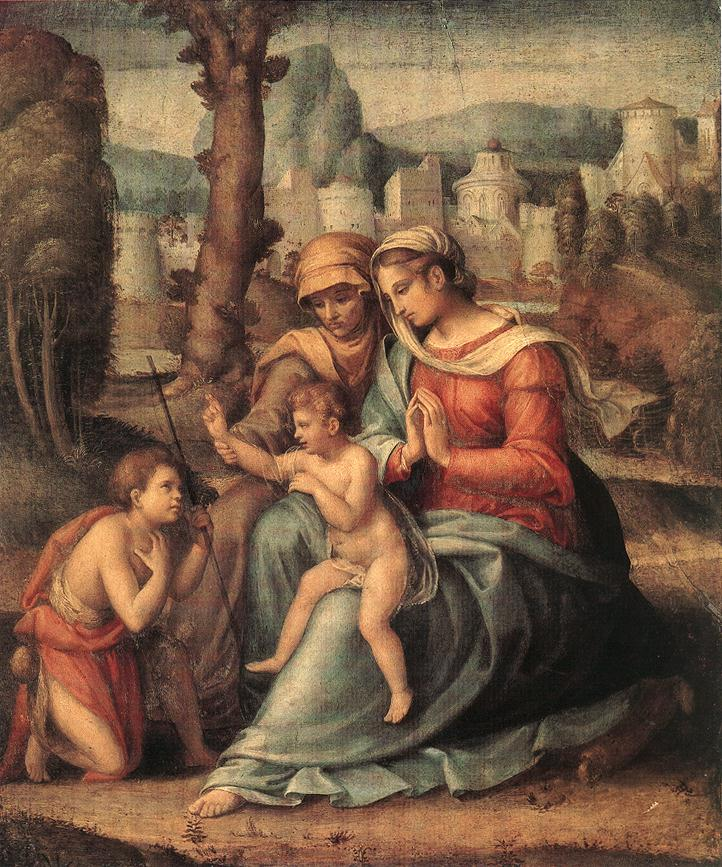 Francesco Bacchiacca - Madonna with Child, St Elisabeth and the Infant St John the Baptist