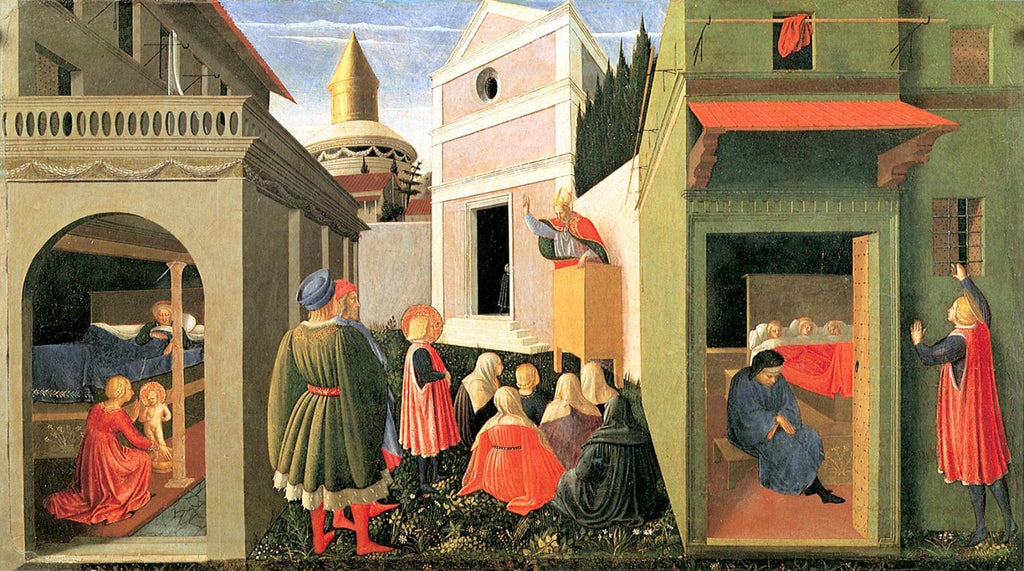 Fra Angelico - Birth of St. Nicolas, Calling and Giving of Alms