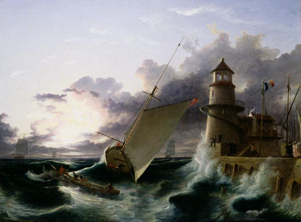 Francis Danby - Boat by a Lighthouse a Squall Going Off