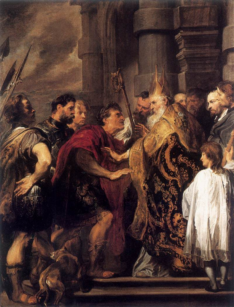 Sir Anthony van Dyck - Emperor Theodosius Forbidden by St Ambrose To Enter Milan Cathed