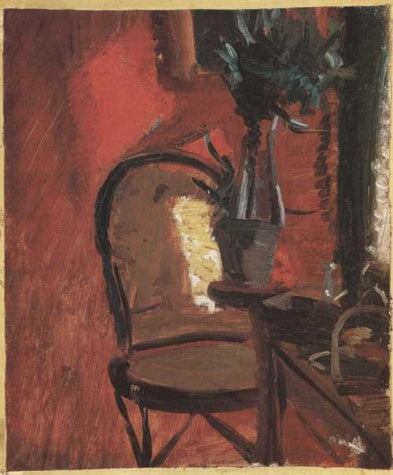 Anna Ancher - Chair with Plant before Red Wall
