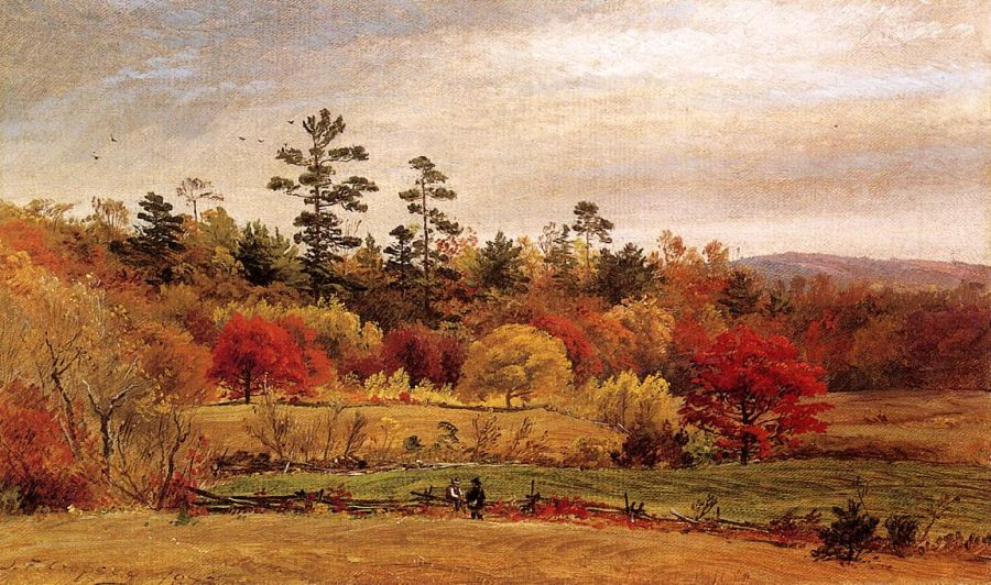 Jasper Francis Cropsey - Conversation at the Fence