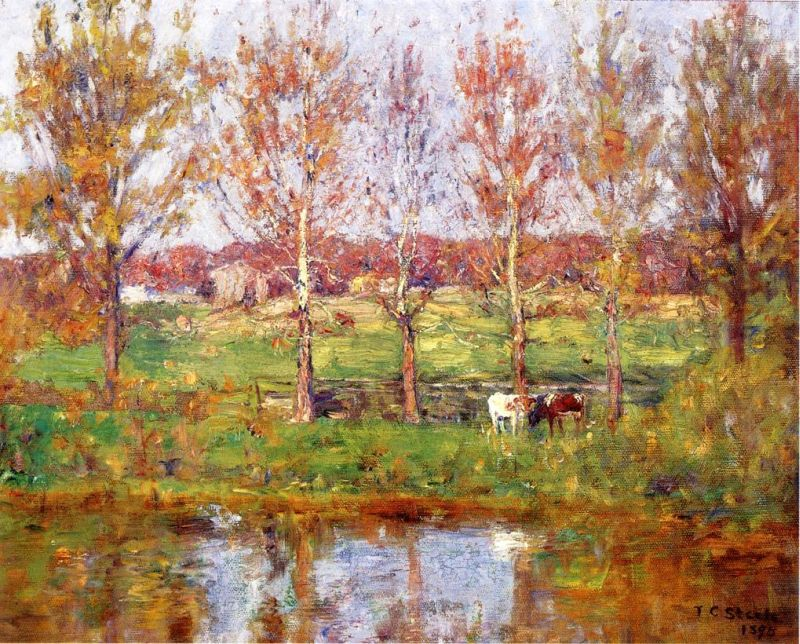 Theodore Clement Steele - Cows by the Stream