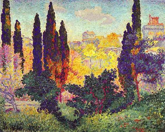 Henri Edmond Cross - Cypress Trees at Cagnes