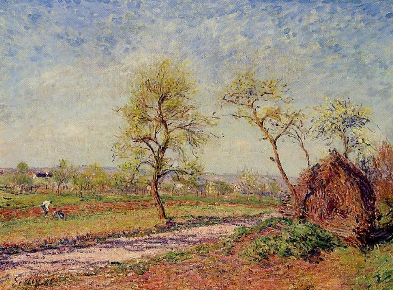 Alfred Sisley - Road from Veneux to Moret on a Spring Day
